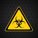 在黑暗的背景的生物危害品标志 库存例证