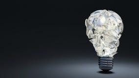 在黑暗的背景的电灯泡 残骸 免版税库存照片