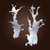 白色牛奶动态飞溅夫妇  免版税库存照片