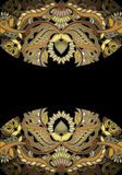 在黑暗的背景的花卉金黄设计元素 库存图片