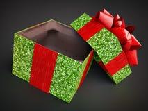 在黑暗的背景的被打开的礼物礼物箱子 马赛克样式 回报cg例证紫色盖帽盒盖紫罗兰色空的礼物加州 免版税图库摄影