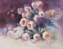 在黑暗的背景水彩的明亮的玫瑰 免版税库存照片
