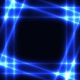 在黑暗的背景-模板的蓝色霓虹栅格 免版税库存照片