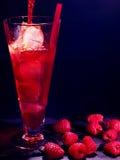 在黑暗的背景12的红草莓鸡尾酒 免版税图库摄影