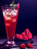 在黑暗的背景19的红草莓鸡尾酒 免版税库存照片