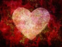 在黑暗的难看的东西花纸背景的心脏形状 免版税库存图片