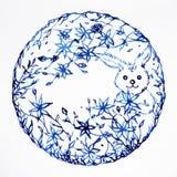 在绘最小的设计的月亮标志水彩的兔子手拉 免版税库存图片