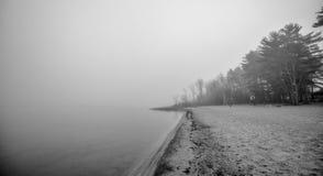 在11月早晨雾的偏僻的空的海滩 免版税库存图片