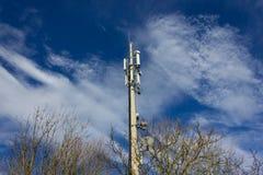 在12月晴朗的蓝天的手机radiomast 库存图片