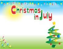 在7月水平的明信片飞行物背景模板的圣诞节 库存照片