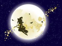 在满月的飞行巫婆 皇族释放例证