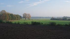 在10月高涨期间的日落在Ootmarsum (荷兰)附近 免版税库存图片