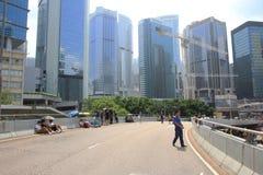 在9月29日伞革命以后,香港 库存照片