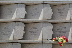 在9月11日攻击丧生的274名史泰登岛居民尊敬了在明信片9/11纪念品在史泰登岛 免版税库存图片