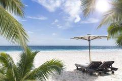 在晴朗的海岸的海滩睡椅。塞舌尔群岛。 免版税库存照片