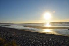 在晴朗的海滩的步行 库存图片