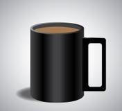 在黑杯子的咖啡 免版税图库摄影