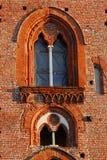在维杰瓦诺城堡的两个美妙的有竖框窗口在帕尔瓦附近的在伦巴第(意大利) 免版税库存照片