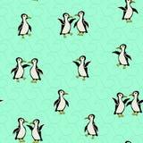 在绿松石背景的滑稽的企鹅与波浪 免版税库存照片