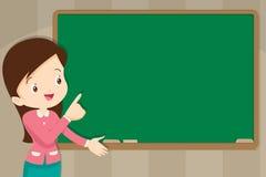 在黑板前面的老师有您的文本的拷贝空间的 向量例证