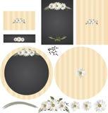 在黑板土气婚礼邀请集合的雏菊 免版税库存照片