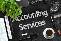 在黑黑板的会计服务 3d翻译 免版税库存照片