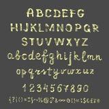 在黑板的传染媒介手拉的剪影字母表 免版税图库摄影