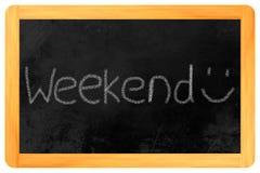 在黑板的周末 免版税库存照片