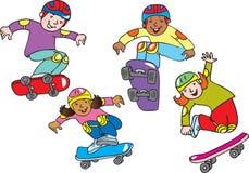 在滑板的孩子 图库摄影