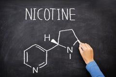 在黑板的尼古丁分子化学结构 免版税库存图片