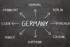 在黑板的德国图 免版税库存图片