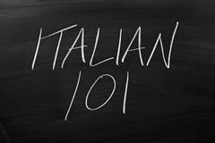 在黑板的意大利语101 库存图片