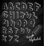 在黑板的手拉的3D剪影字母表 免版税库存照片