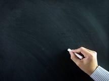 在黑板的手 免版税库存图片