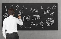在黑板的教育标志 免版税图库摄影