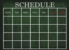 在黑板的日程表 免版税库存图片