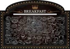 在黑板的早餐 免版税库存图片