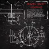 在黑板的机械工程图画 免版税库存照片
