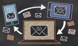 在黑板的电子邮件 免版税库存图片