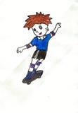 在滑板的男孩辗压 免版税库存图片
