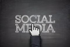 在黑板的社会媒体 库存照片