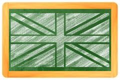 在黑板的英国旗子 库存图片