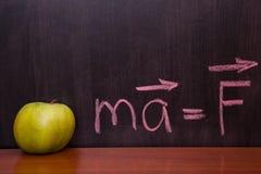 在黑板的苹果。 免版税库存图片