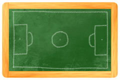 在黑板的足球场白垩 图库摄影