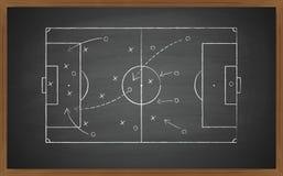 在黑板的足球战术 图库摄影