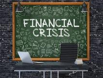 在黑板的金融危机在办公室 3d 库存照片