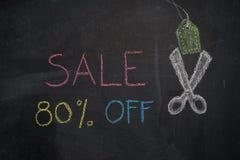 在黑板的销售80%  免版税库存照片
