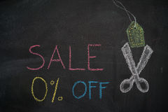 在黑板的销售0%  免版税库存图片