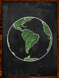 在黑板的绿土 免版税库存照片