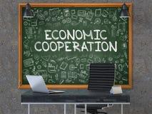 在黑板的经济合作在办公室 3d 免版税库存照片